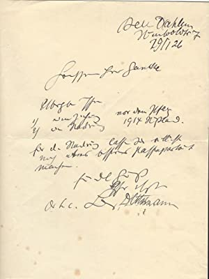 3 (davon 1 eh. und 2 ms.): Dettmann, Ludwig, Maler