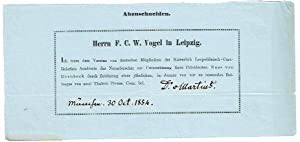 """Gedr. Beitrittserklärung mit eigenh. U. (""""Dr. v.: Martius, Carl Rt."""