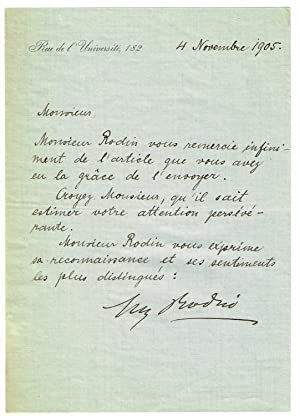 Brief aus der Hand von Rainer Maria: Rodin, August -