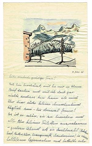 Eigenh. aquarellierte Federzeichnung auf einem Brief seiner 3. Frau Ninon Hesse (1895-1966).: Hesse...