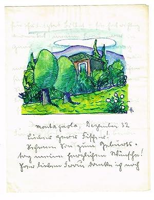 """Eigenh. Brief mit aquarellierter Federzeichnung am Kopf sowie eigenh. U. """"HHesse"""" (Tinte).: ..."""