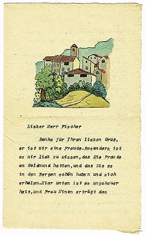 """Ms. Brief mit aquarellierter Federzeichnung am Kopf sowie eigenh. U.  HHesse"""" (Bleistift).: ..."""