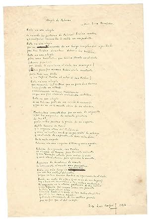 """Elegía de Palermo"""". Autograph mansucript (48 lines): Borges, Jorge Luis,"""