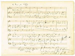 Autograph musical quotation from the opening of the song