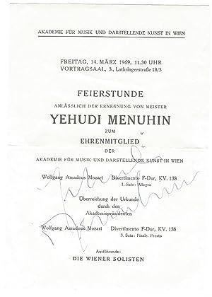 Signiertes Programm.: Menuhin, Yehudi, Geiger, Bratschist und Dirigent (1916-1999).