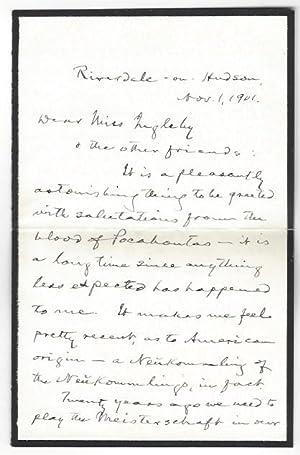 """Autograph letter signed (""""Mark Twain"""").: Mark Twain (d."""