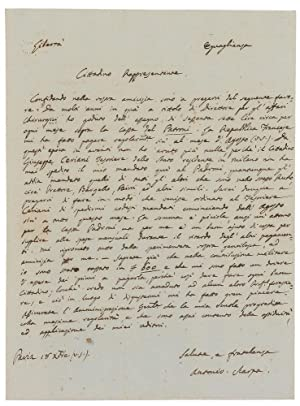 Eigenh. Brief mit U.: Scarpa, Antonio, Anatom