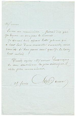 Autograph letter signed.: Dumas, Alexandre (père),