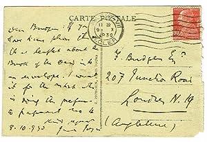 Autograph postcard signed.: Joyce, James, Anglo-Irish