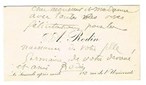 Visiting card with holograph annotation and signature ?Rodin