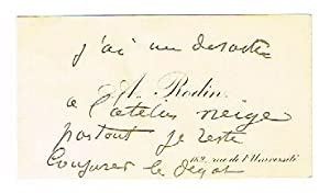 Visiting card with holograph annotation and signature ?A. Rodin