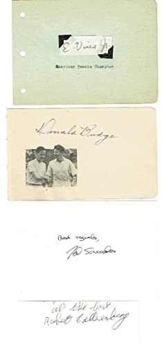A good selection of signed clipped pieces and cards by various American and Australian tennis pla...