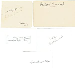 Small selection of five signed clipped pieces by various American ladies tennis players