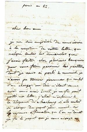 Eigenh. Brief mit Unterschrift.: Lafont, Charles Philippe,
