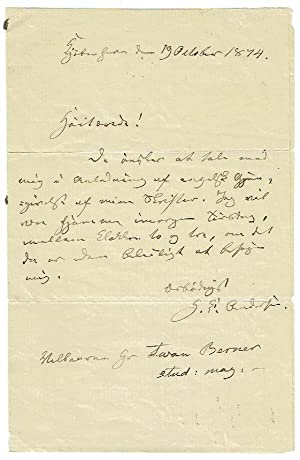 Autograph letter signed by Hans Christian Andersen.