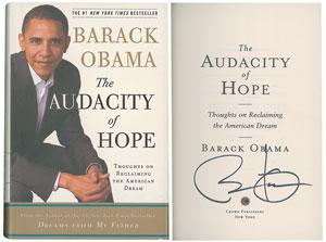 Signed book: The Audacity of Hope. First edition, later printing.