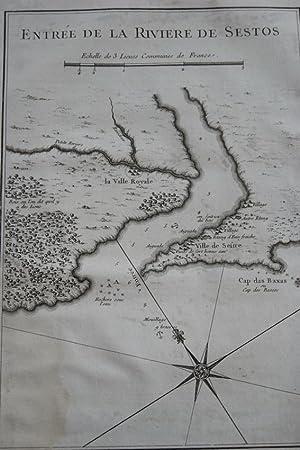 CARTE ANCIENNE AFRIQUE ENTREE DE LA RIVIERE DE SESTOS LIBERIA: Jacques-Nicolas Bellin