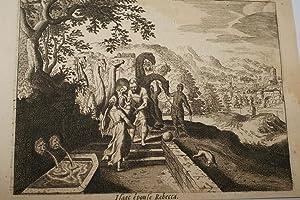 GRAVURE SUR CUIVRE MARIAGE ISAAC REBECCA-BIBLE 1670