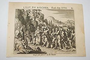 GRAVURE SUR CUIVRE MOISE EAU DU ROCHER-BIBLE 1670 LEMAISTRE DE SACY (B37)
