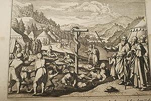 GRAVURE SUR CUIVRE MOISE SERPENT D'AIRAIN-BIBLE 1670