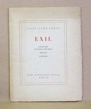 Exil: Gedicht An Eine Fremde Regen Schnee: Perse, Saint-John
