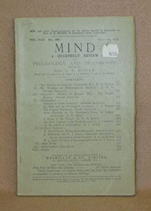 Mind: A Quarterly Review Of Psychology And Philosophy: Moore, Prof. G.E.