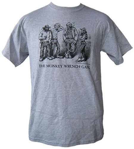 The whole gang t shirt grey m the monkey wrench gang for Entire book on shirt