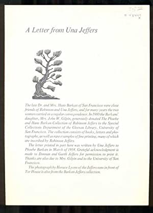 A Letter from Una Jeffers: Jeffers, Una; [Robinson