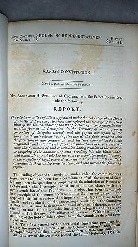 Kansas Constitution (35th Congress, 1st Session, House of Representatives, Report No. 377)