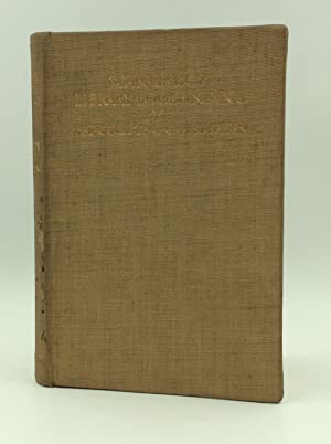 MANUAL OF LIBRARY BOOKBINDING: Practical and Historical: Henry T. Coutts