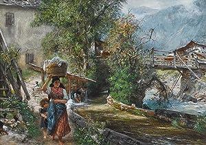 Paul Meyerheim: Wäscherin im Gebirge (Originalzeichnung): Paul Meyerheim (1842