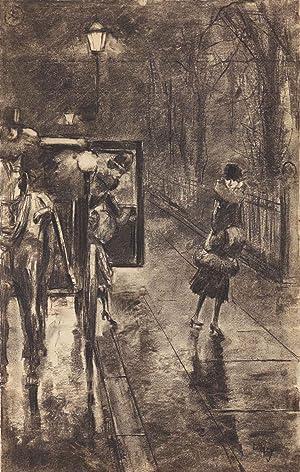 Lesser Ury: Nächtliche Stassenszene in Berlin (Originalzeichnung): Lesser Ury (1861