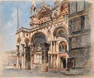 Ludwig Passini: Markusplatz in Venedig (Originalzeichnung): Ludwig Passini (1832