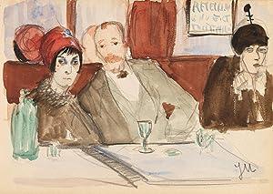 Jeanne Mammen: Café Boul´ Mich (Originalzeichnung): Jeanne Mammen (1890