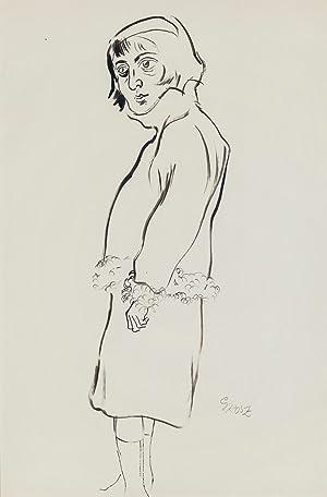 George Grosz: Frau mit pelzverbrämter Jacke (Originalzeichnung): George Grosz (1893