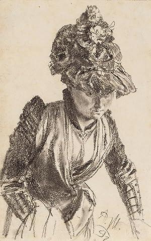 Adolph Menzel: Dame mit Hut (Originalzeichnung): Adolph Menzel (1815