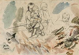 Adolph Menzel: Skizzenblatt mit Kinderstudien: Adolph Menzel (1815
