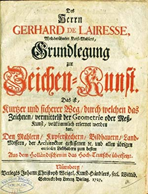 Grundlegung zur Zeichen - Kunst. .: Lairesse, Gerhard de.