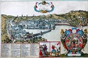 Lucerna Helvetiorum Vulgo Lucernn. - Luzern aus der Vogelperspektive.: Hollar, Wenzel:
