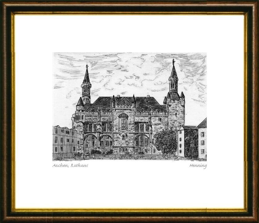 Einfarbige original Radierung Aachen, Rathaus im Rahmen Braun-Gold ...