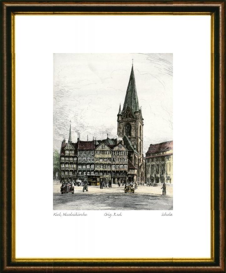 kein Kunstdruck Handkolorierte original Radierung Berlin Graphik kein Leinwandbild Rathaus Spandau von Falk im Rahmen Braun-Gold
