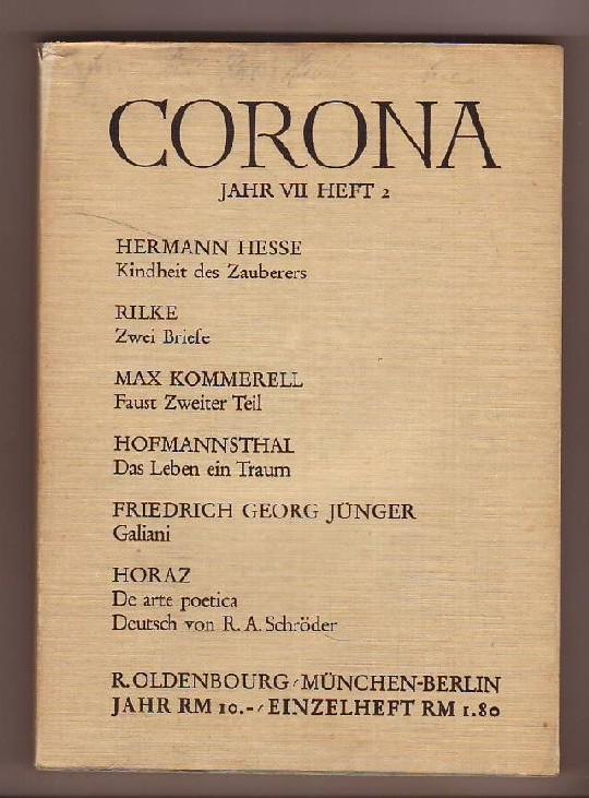 Corona - Zweimonatsschrift, 7. Jahrgang, Heft 2: Bodmer, Martin und