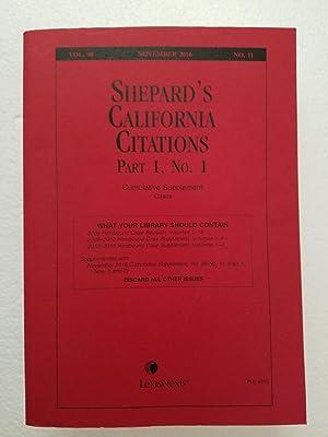 Shepherd's California Citations Part 1, No. 1 Cumulative Supplement Cases