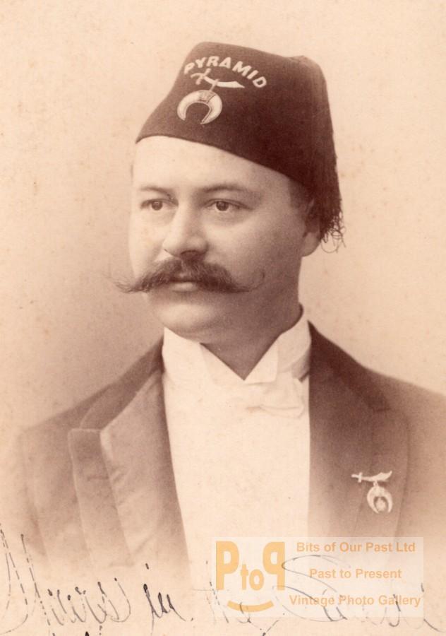 New_Haven_Shriner_Henry_Fresenius_Scimitar_Crescent_Star_Fez_Pyramid_Photo_1890____