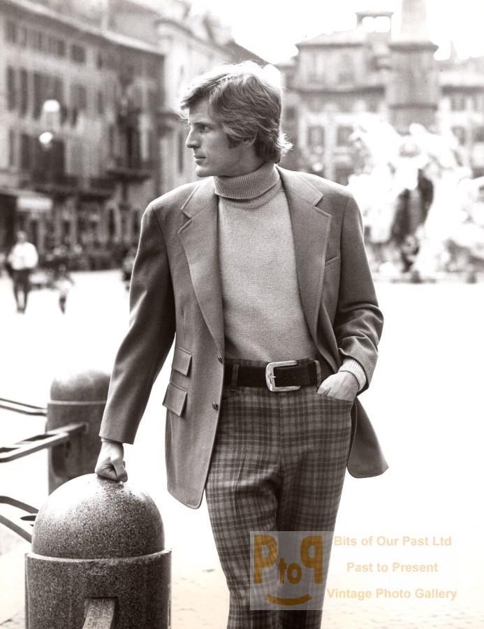 Rome 1970's Men Fashion Sportswear J.P. Stevens Textile old Photo Vintage publicity/promotional photograph. *** Date : ca 1970 *** Location/Lieu : Italy, Rome *** Categories : Italy - Fashion, Men *** Silver print, G