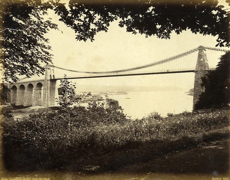 Wales_Menai_Suspension_Bridge_from_park_Old_Photo_Bedford_circa_1870_Francis_BEDFORD__