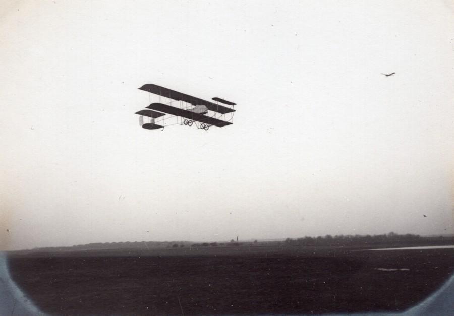 France_Buc_Aviation_Maurice_Farman_Biplane_in_Flight_old_Photo_1910_ANONYMOUS__