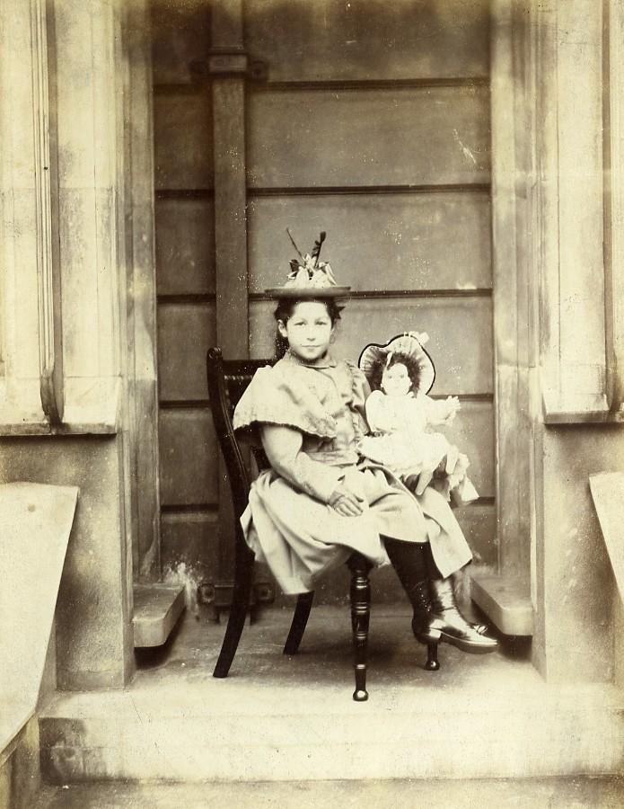 France_Young_Girl_&_her_Doll_Toy_Children_Game_Old_Photo_1890_ANONYMOUS__