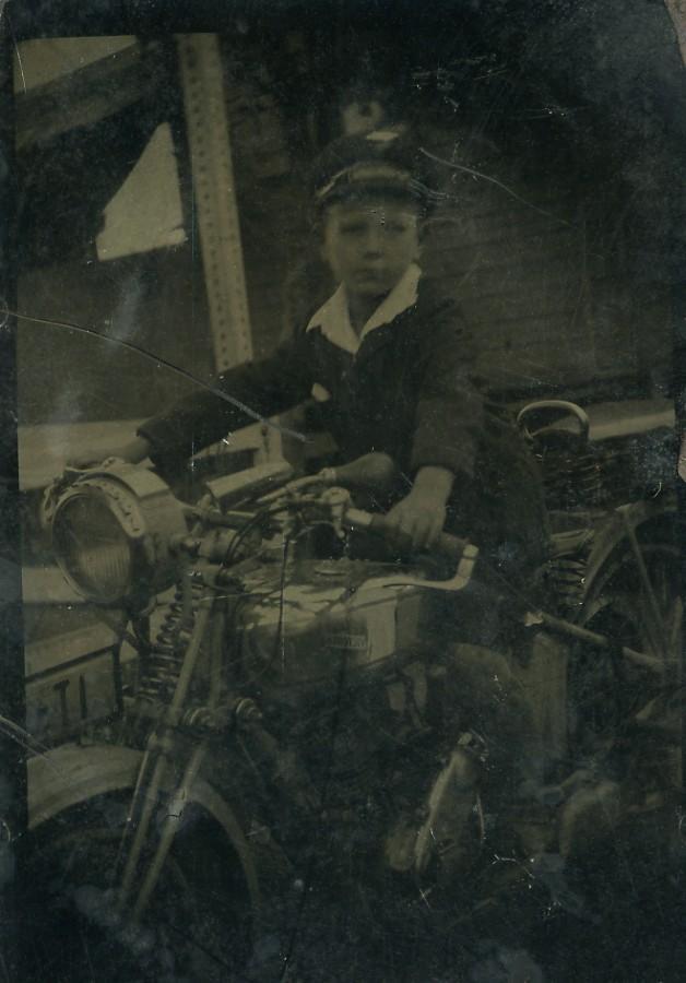 France_Ferrotype_Tintype_Boy_Portrait_Riding_Victoria_Motorbike_Old_Photo_1931_ANONYMOUS__