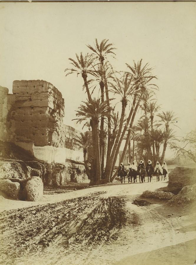 Morocco_Marrakech_City_Wall_Group_of_Men_on_Mules_Old_Photo_Felix_1915_FELIX__